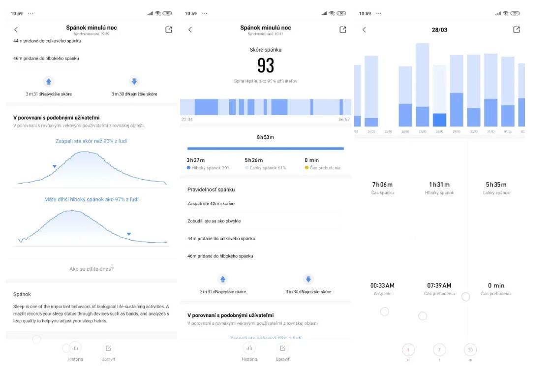 Amazfit GTS_analyza spanku aplikacia